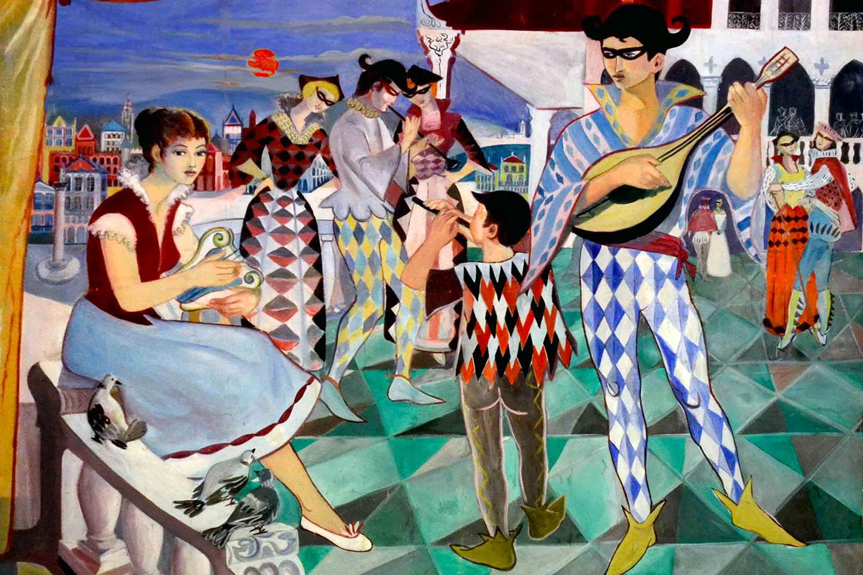Painting in Arlequin bedroom / Tableau dans la chambre Arlequin